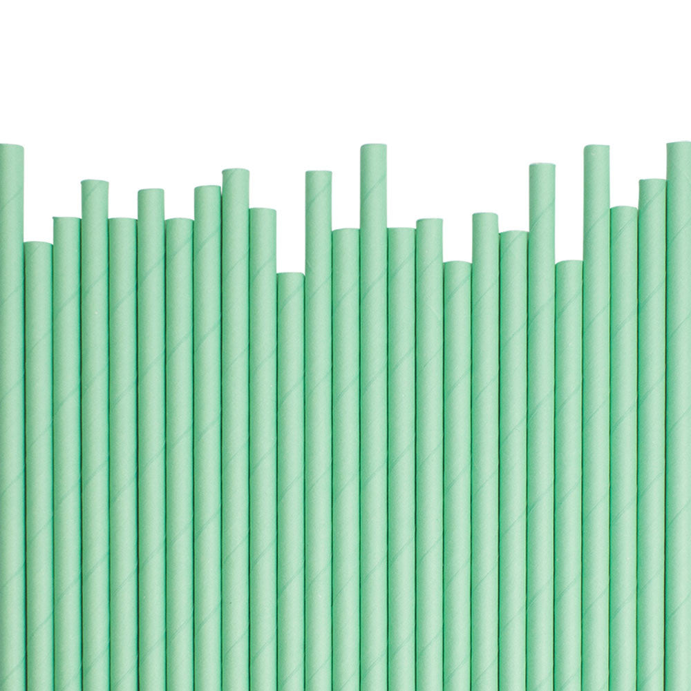 Plain Mint Paper Straws