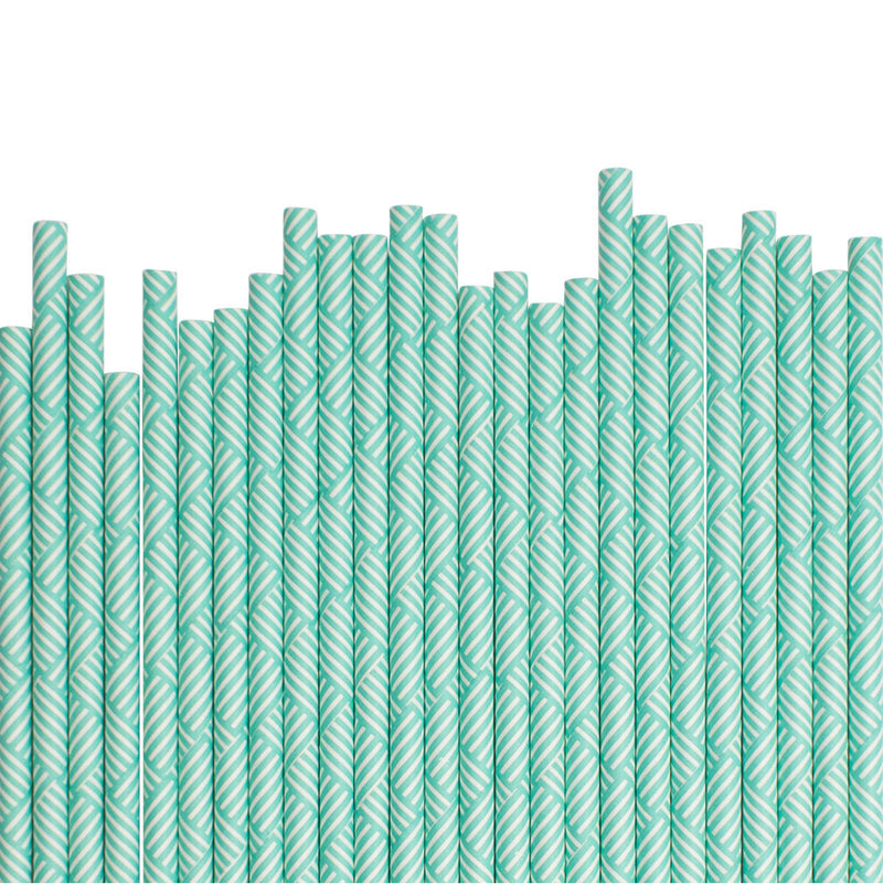 Mint Geometric Paper Straws  Paper Straws Hello Party Essentials - Hello Party