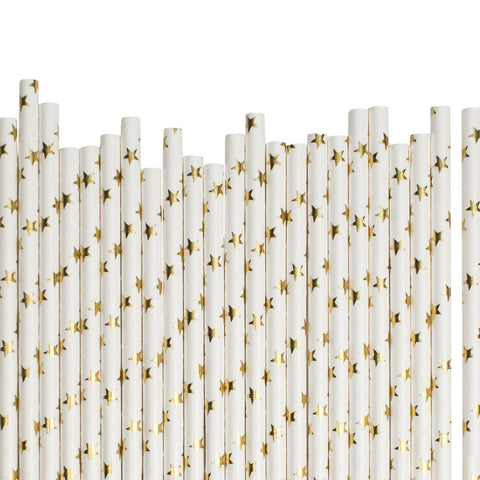 Big Gold Stars Paper Straws  Paper Straws Hello Party Essentials - Hello Party