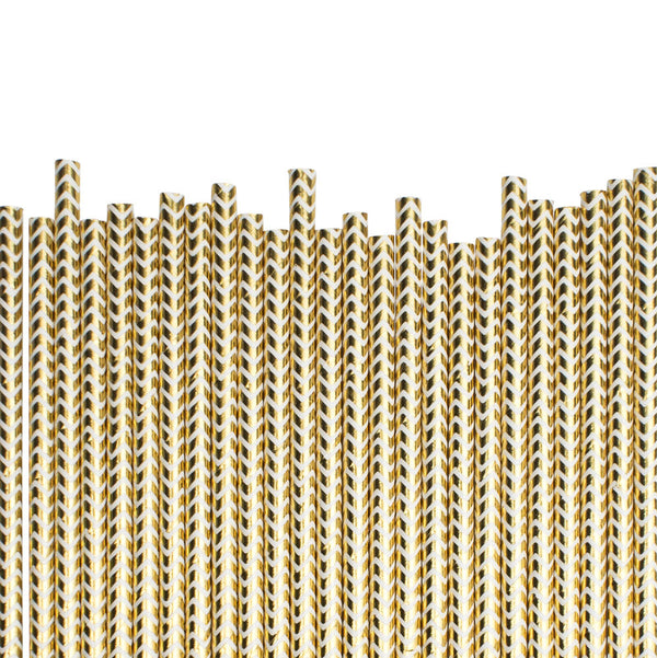 Gold Chevrons Paper Straws  Paper Straws Hello Party Essentials - Hello Party