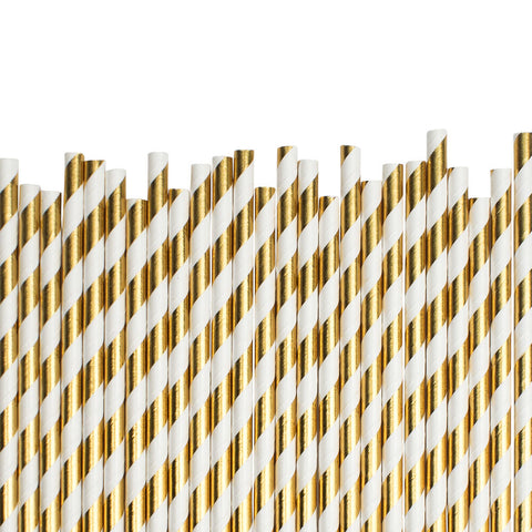Gold Diagonal Striped Paper Straws