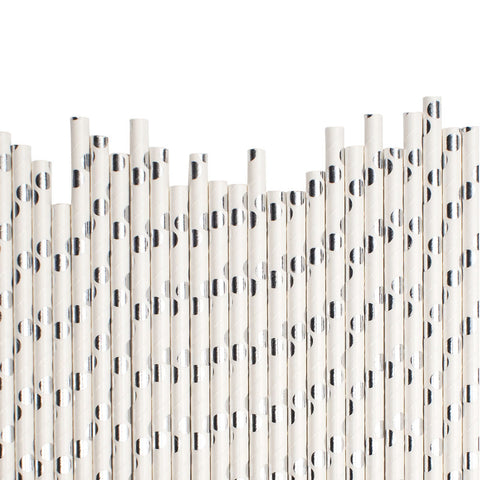 Big Silver Spots Paper Straws  Paper Straws Hello Party Essentials - Hello Party