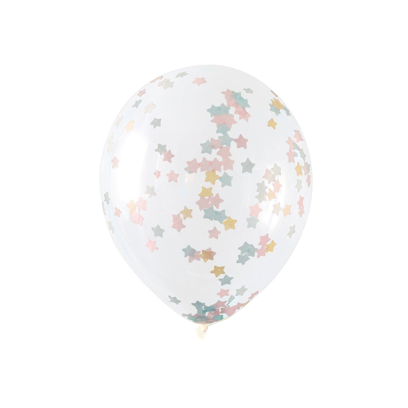 Large Pastel Star Confetti Balloons (pack of 5)  Confetti Balloons Hello Party Essentials - Hello Party