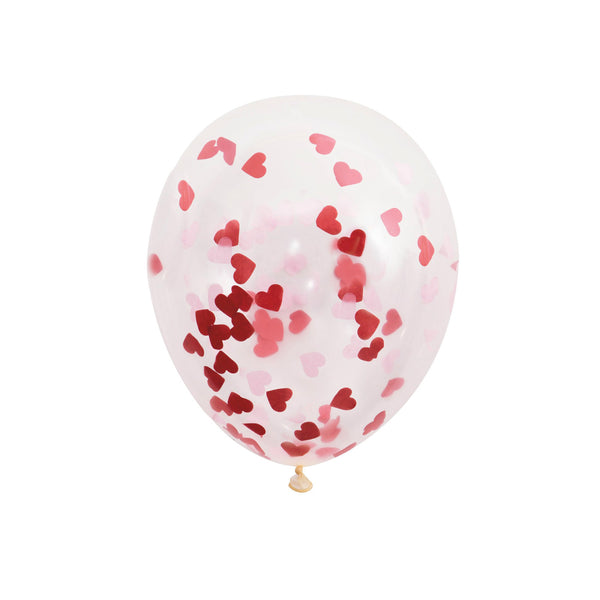 Large Red Heart Confetti Balloons (pack of 5)  Confetti Balloons Hello Party Essentials - Hello Party