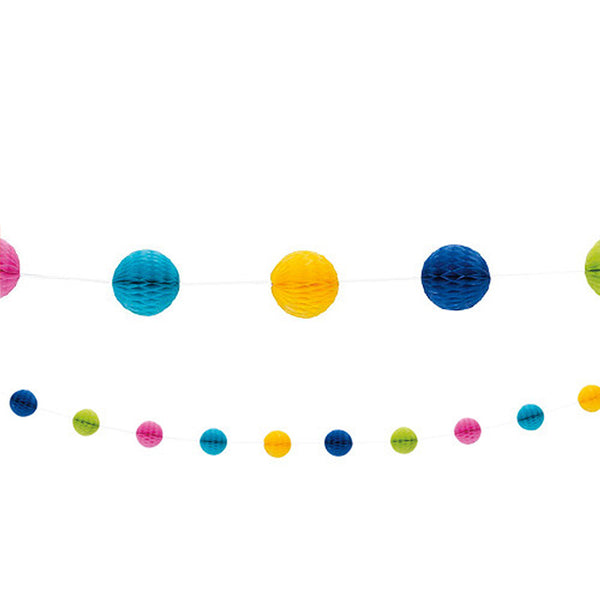 Multicoloured Mini Honeycomb Garland  Honeycomb Garland HelloPartyUK - Hello Party