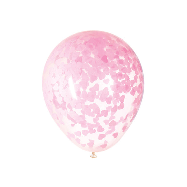 Large Pink Heart Confetti Balloons (pack of 5)  Confetti Balloons Hello Party Essentials - Hello Party