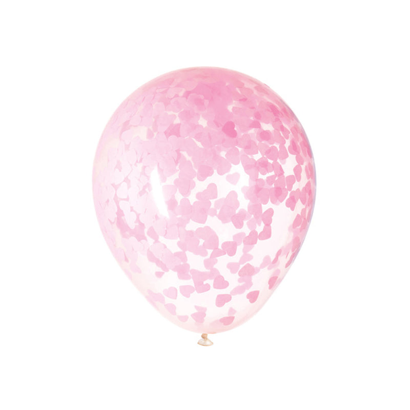 Large Pink Heart Confetti Modern Party Balloons (pack of 5)