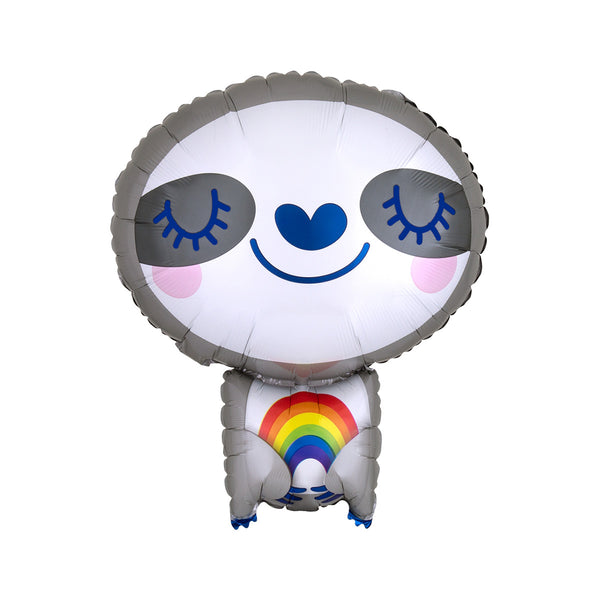 Rainbow Hugging Smiling Sloth Balloon