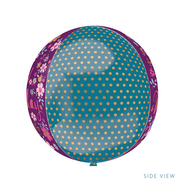 Dainty Floral Happy Birthday Party Orbz Balloon side view