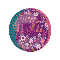 Dainty Floral Happy Birthday Party Orbz Balloon