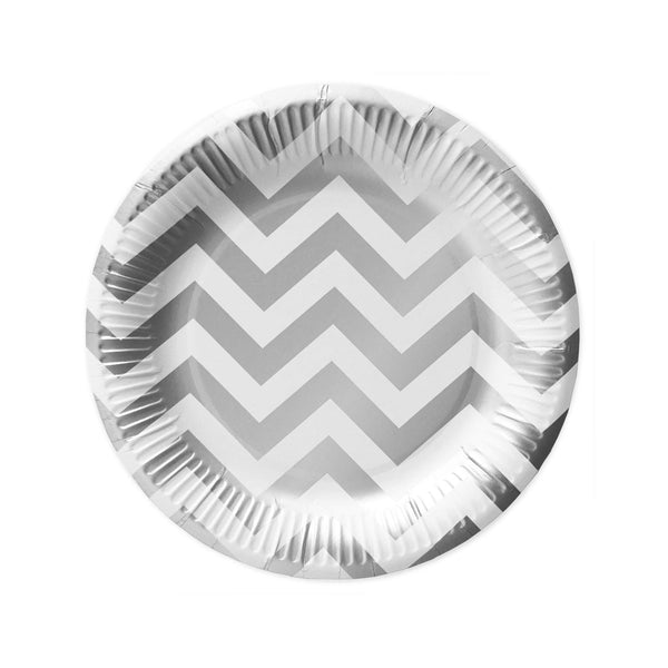 10 Silver Chevron Paper Plates  Party Plates Delight Department - Hello Party