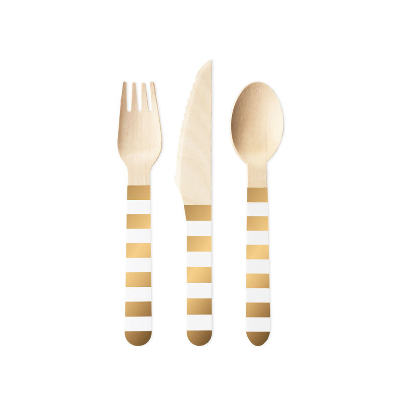 Metallic Gold Striped Cutlery (30 piece set)  Party Cutlery Delight Department - Hello Party