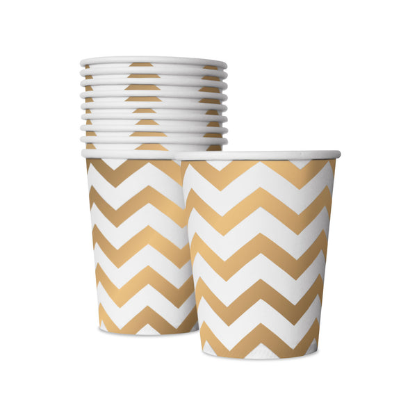 10 White and Gold Cups  Party Cups Delight Department - Hello Party