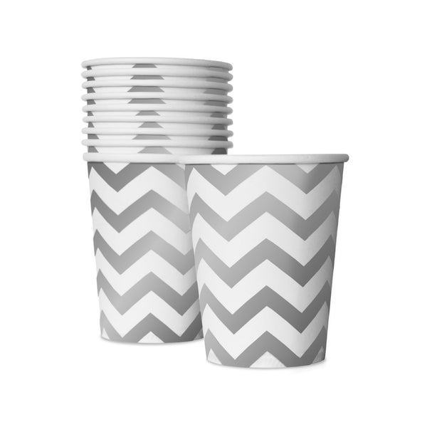 10 White and Silver Cups  Party Cups Delight Department - Hello Party