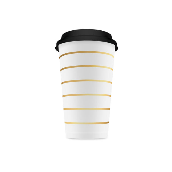 Gold Striped Tall Coffee Cups (pack of 10)  Party Cups Delight Department - Hello Party