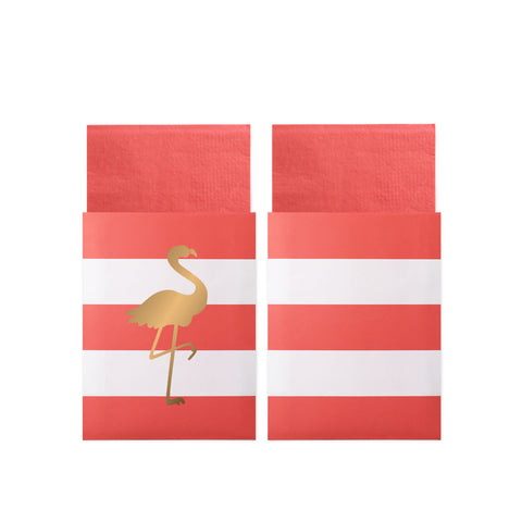 Preppy Flamingo Napkins In Bags
