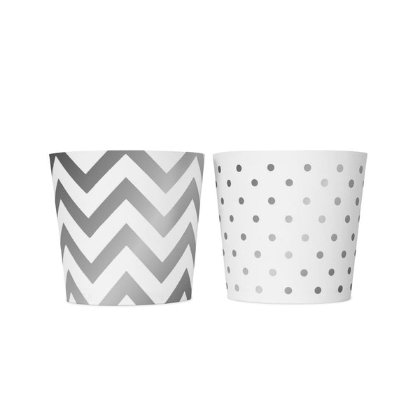 6 White and Silver Food Cups  Party Tubs Delight Department - Hello Party