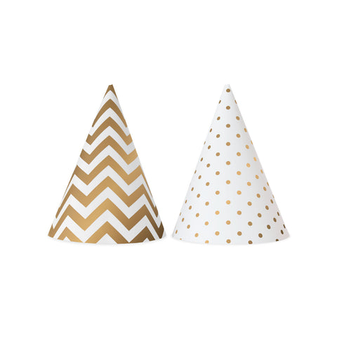 White and Gold Party Hats