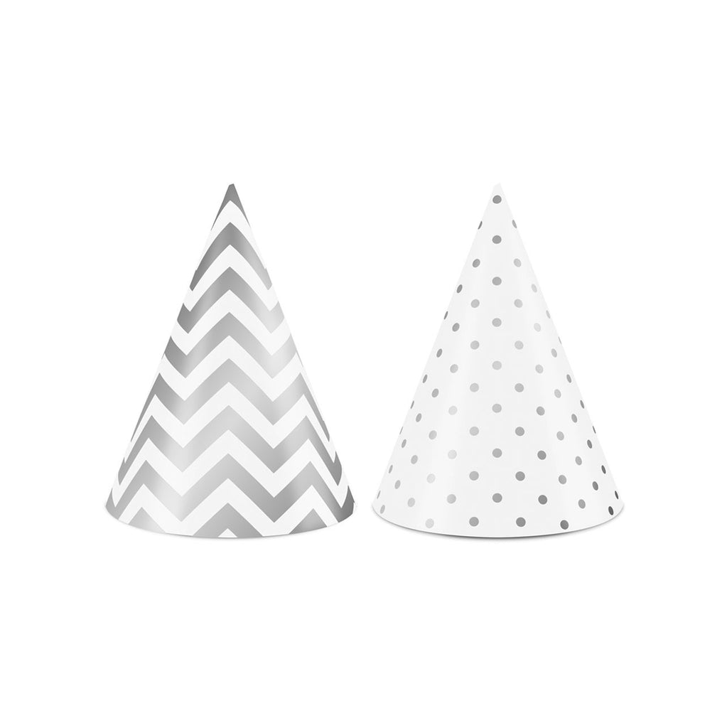 10 White and Silver Party Hats