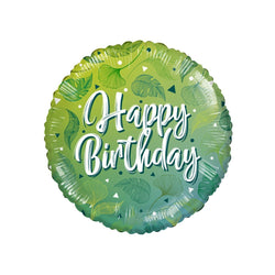 Happy Birthday Green Leaves ECO foil balloon