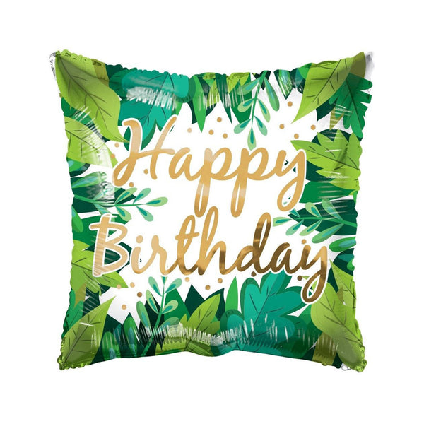 Happy Birthday Botanical Square ECO Foil Balloon