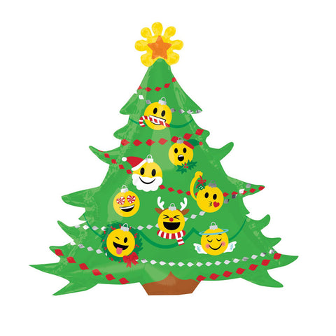 "Emoji Christmas Tree Foil Balloon (34"")  Balloons Anagram - Hello Party"