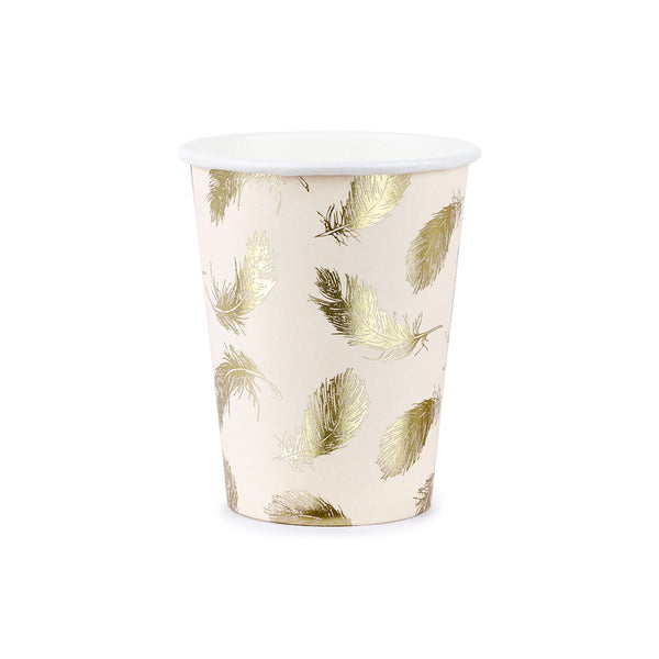 Golden Feather Paper Cups  Party Cups Party Deco - Hello Party