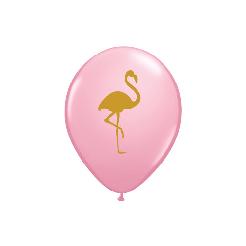 Gold Flamingo Print Pink Balloons (pack of 5)