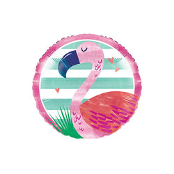 Flamingo Round Foil Balloon  Standard Foil Balloons Creative Party - Hello Party