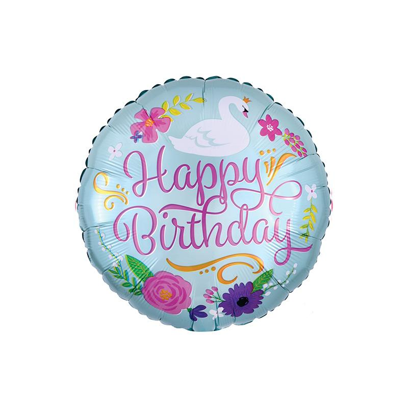Happy Birthday Floral Swan Foil Balloon