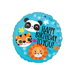 Animal 'Happy Birthday to You' Round Foil Balloon