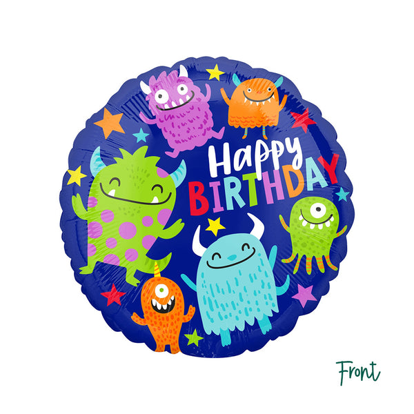 Happy Little Monster Party Round Foil Balloon