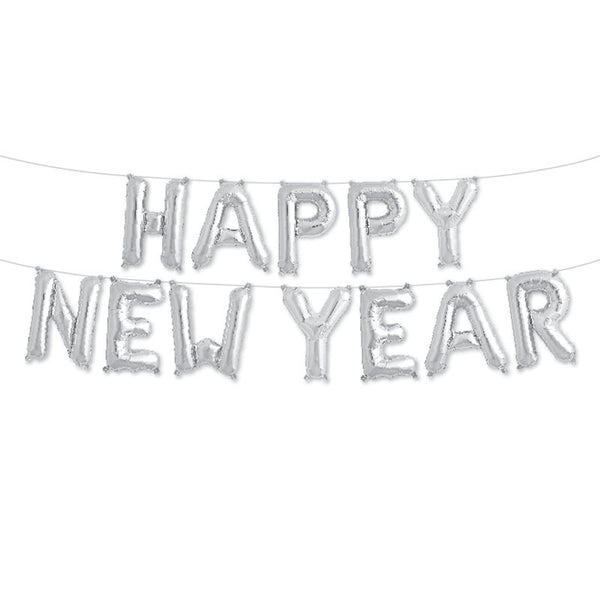 Happy New Year - 16 inch Silver Foil Letter Balloon Pack  Balloons Northstar - Hello Party