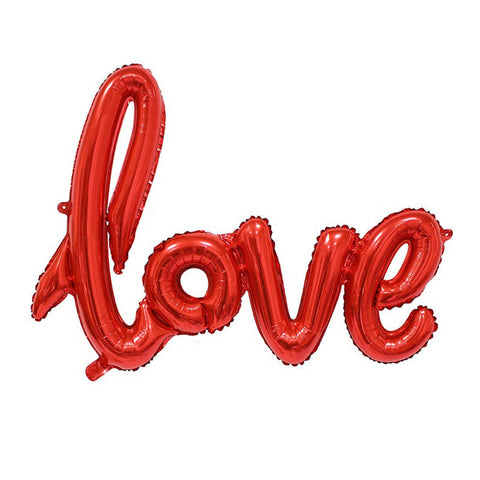 Red Love Script Foil Balloon 40""