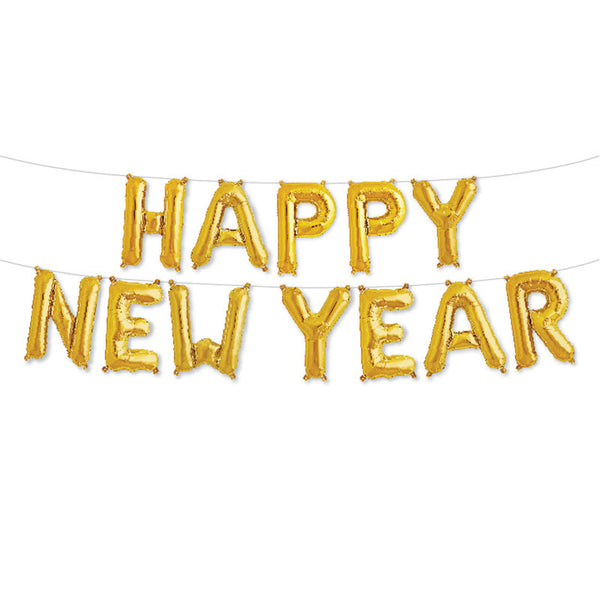 Happy New Year - 16 inch Gold Foil Letter Balloon Pack  Balloons Northstar - Hello Party