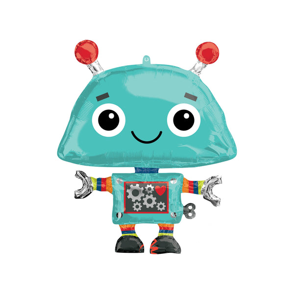 Happy Robot Hello Party Fun Foil Shape Balloons