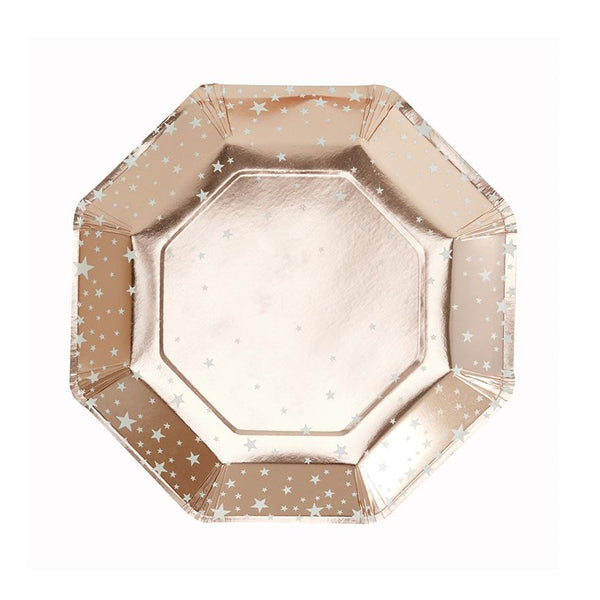Rose Gold Star Design Paper Plates - Metallic Star