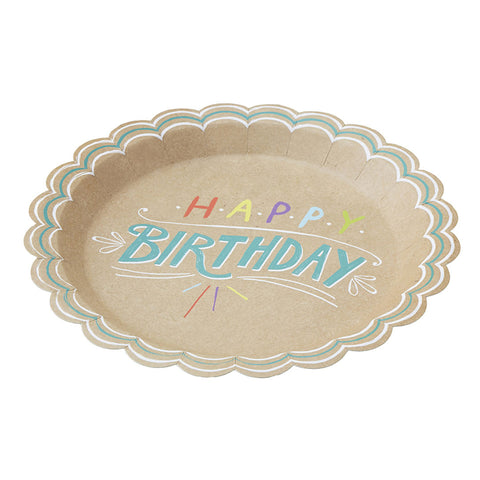Happy Birthday Kraft Paper Plates