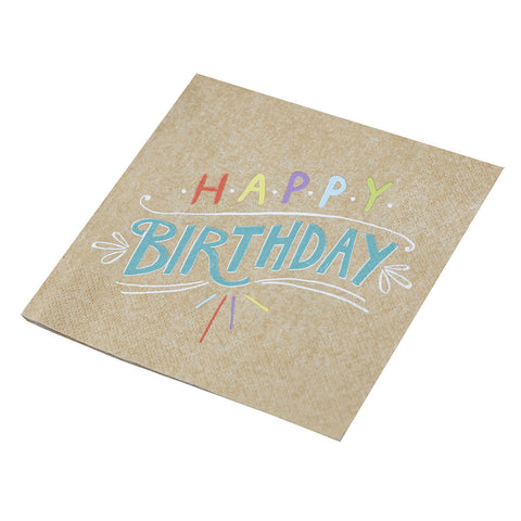 Happy Birthday Kraft Paper Napkins