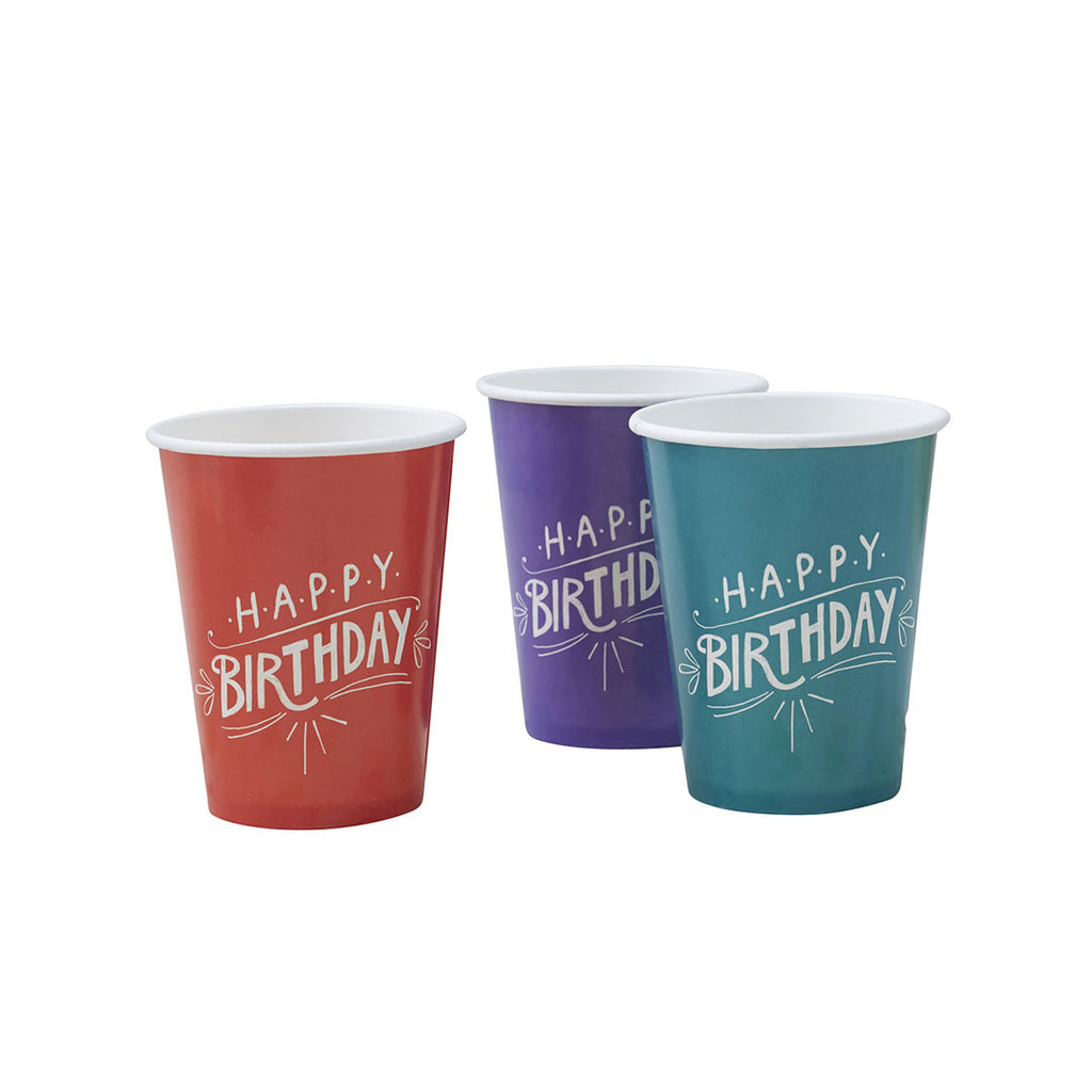 Happy Birthday Kraft Mixed Paper Cups