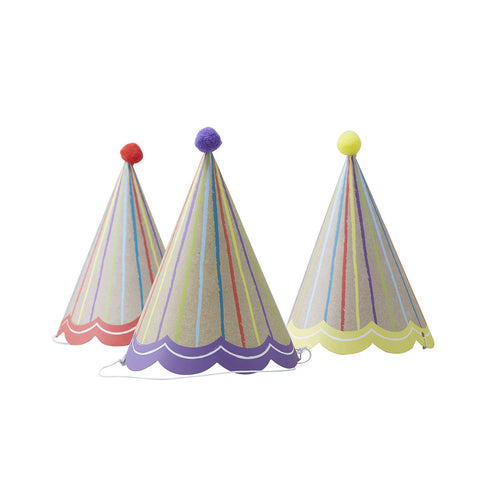 Happy Birthday Kraft Pom Pom Party Hats