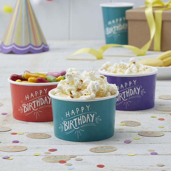 Happy Birthday Kraft Ice Cream / Treat Tubs  Party Tubs Ginger Ray - Hello Party