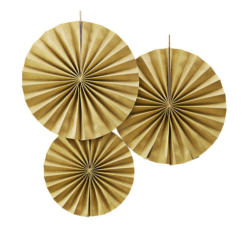 Gold Sparkle Circle Fan Pinwheel Decorations