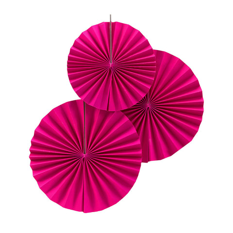 Neon Pink Pinwheel Fan Decorations