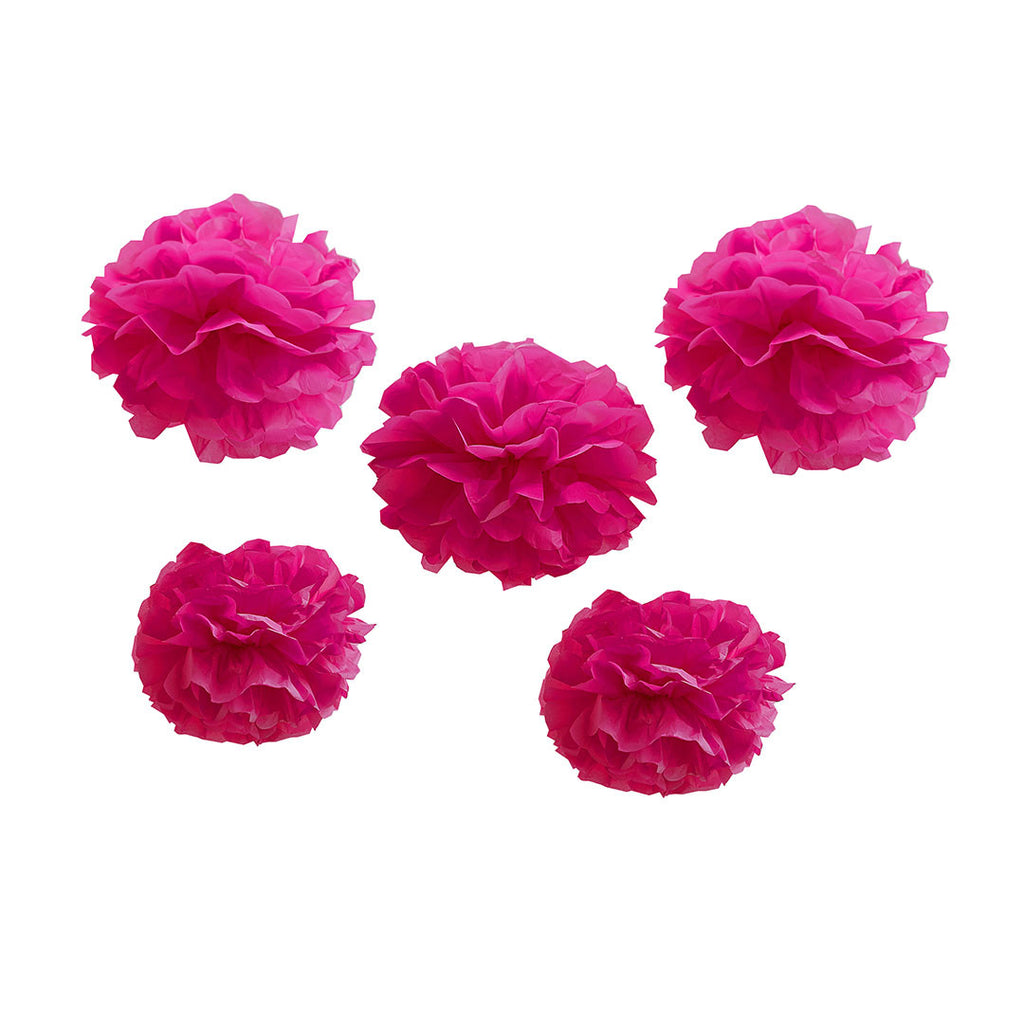 Neon Pink Tissue Paper Pom Poms (Pack of 5)