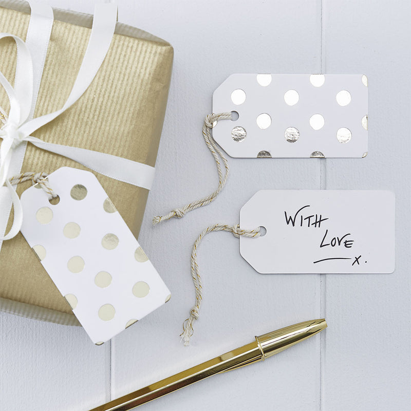 Metallic Gold Polka Dot Tags  Tags Ginger Ray - Hello Party