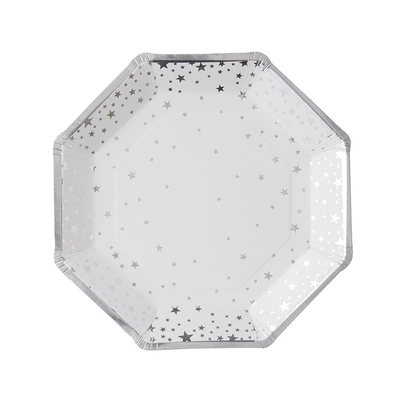 Silver Metallic Star Paper Plates  Party Plates Ginger Ray - Hello Party