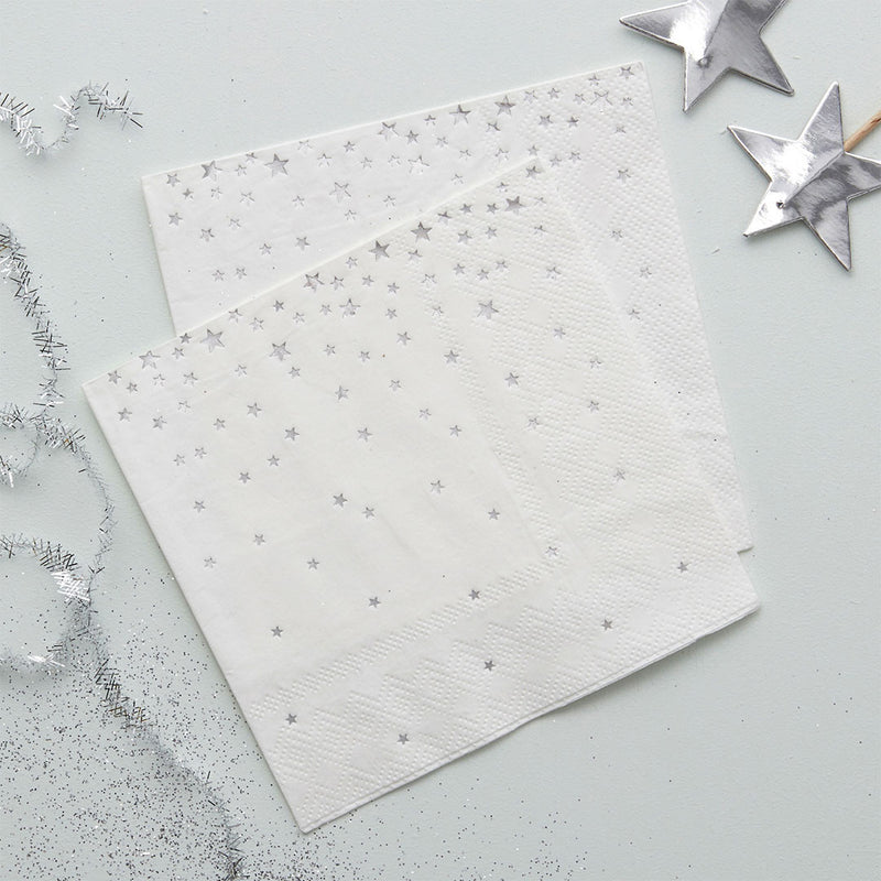 Silver Metallic Star Cocktail Napkins  Napkins Ginger Ray - Hello Party