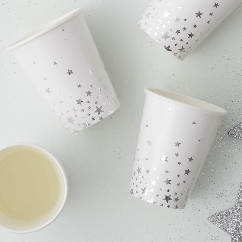 Silver Metallic Star Cups  Party Cups Ginger Ray - Hello Party