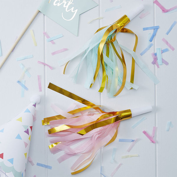 Gold Foil & Pastel Party Horns  Party Horns Ginger Ray - Hello Party